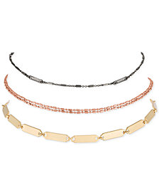 RACHEL Rachel Roy Tri-Tone 3-Pc. Set Open Choker Necklaces