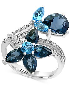 Ocean Bleu by EFFY® Blue Topaz (5-1/3 ct. t.w.) and Diamond (1/5 ct. t.w.) Flower Ring in 14k White Gold