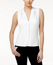0a236075f817f Calvin Klein Pleated Blouse, Regular   Petite