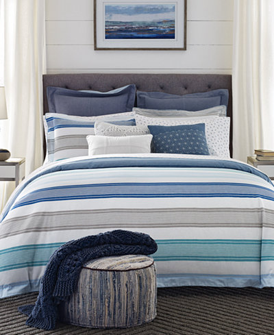 CLOSEOUT! Tommy Hilfiger Westbourne Stripe Reversible Full/Queen Comforter Set