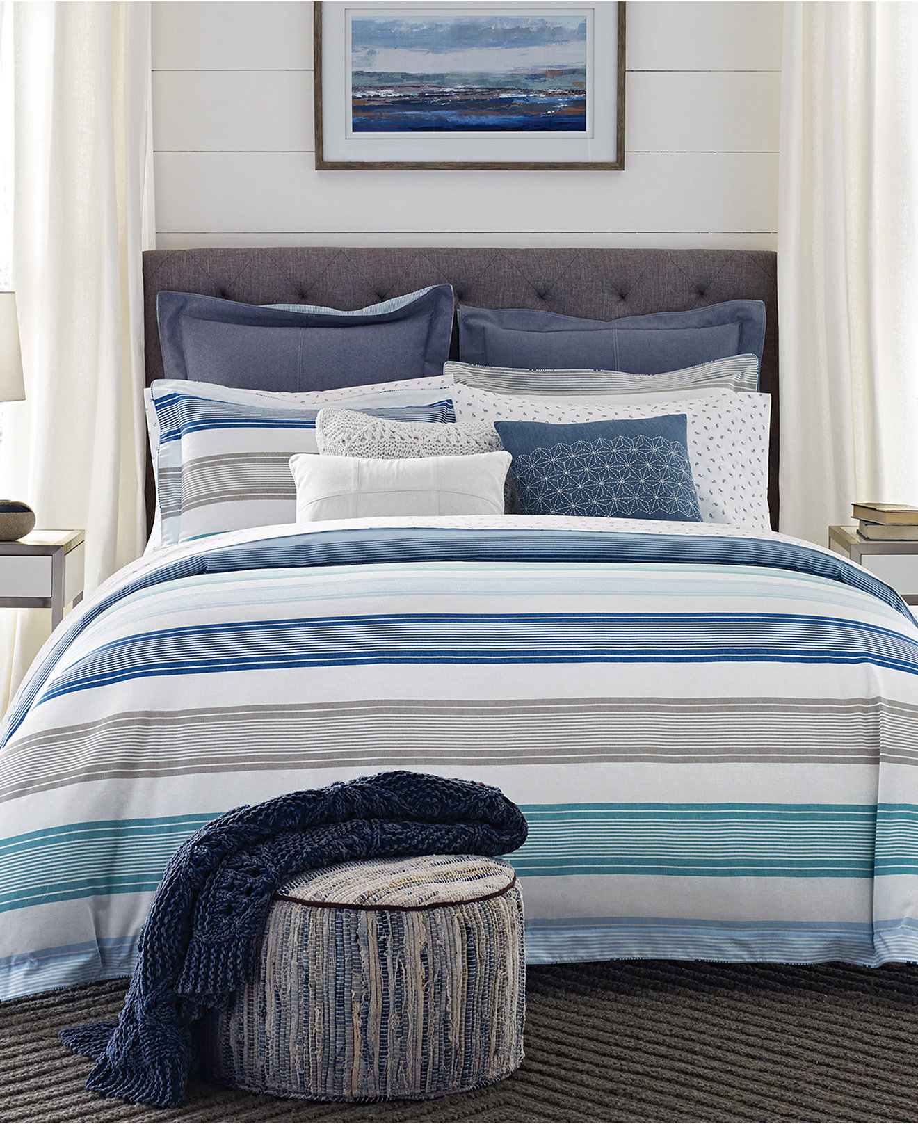 Blue bedspreads and comforters - Tommy Hilfiger Westbourne Stripe Reversible Bedding Collection