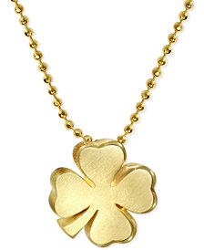 Alex Woo Shamrock Pendant Necklace in 14k Gold