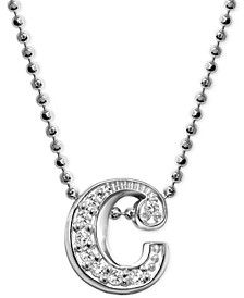 "Diamond Accent Initial ""c"" Pendant Necklace in 14k White Gold"