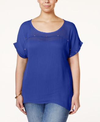 Eyeshadow Plus Size Studded Sheer Illusion Top
