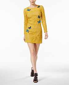 Long Sleeves Amber Lace Dress with Butterfly Patches