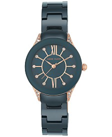 Anne Klein Women's Blue Ceramic Bracelet Watch 30mm AK-2388RGNV