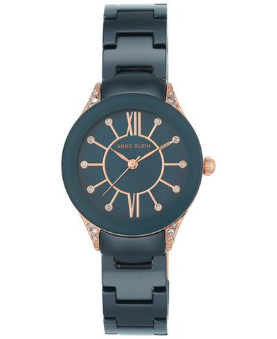 Anne Klein Women's Blue Ceramic Bracelet Watch 30mm AK-2388RGNV