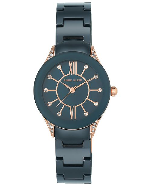 ... Anne Klein Women's Blue Ceramic Bracelet Watch 30mm AK-2388RGNV ...