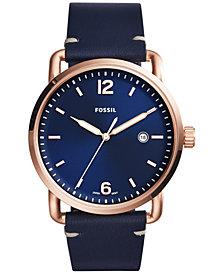 Fossil Men's Commuter Blue Leather Strap Watch 42mm FS5274