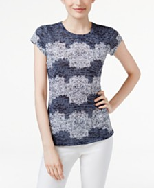 I.N.C. Lace-Print Burnout T-Shirt, Created for Macy's