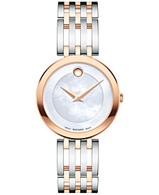 Movado Women's Swiss Esperanza Two-Tone PVD Stainless Steel Bracelet Watch 28mm 0607114, Created for Macy's