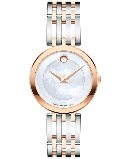 Movado Women's Swiss Esperanza Two-Tone PVD Stainless Steel Bracelet Watch 28mm 0607114, Created for Macy's