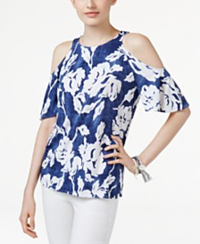 I.N.C. Floral-Print Cold-Shoulder Top, Created for Macy's