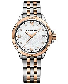 Women's Tango Swiss Diamond-Accent Two-Tone Bracelet Watch 30mm 5960-SP5-00995, Created for Macy's