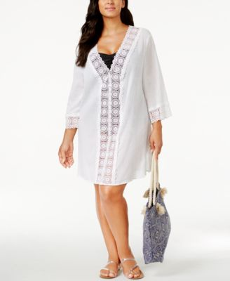 La Blanca Plus Size Crochet-Trim Tunic Cover-Up