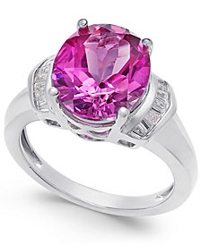 Pink Topaz (4-9/10 ct. t.w.) and White Topaz (1/4 ct. t.w.) Ring in Sterling Silver