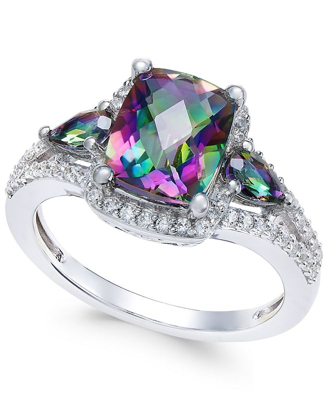 Macy's Mystic Topaz (2-1/6 ct. t.w.) and White Topaz (1/4 ct. t.w.) Ring in Sterling Silver