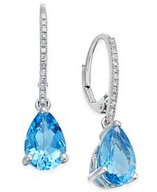 Blue Topaz (2-1/2 ct. t.w.) and Diamond (1/10 ct.t.w.) Drop Earrings in 14k White Gold