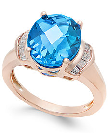 London Blue Topaz (4-9/10 ct. t.w.) and White Topaz (1/4 ct. t.w.) Ring in 14k Rose Gold-Plated Sterling Silver
