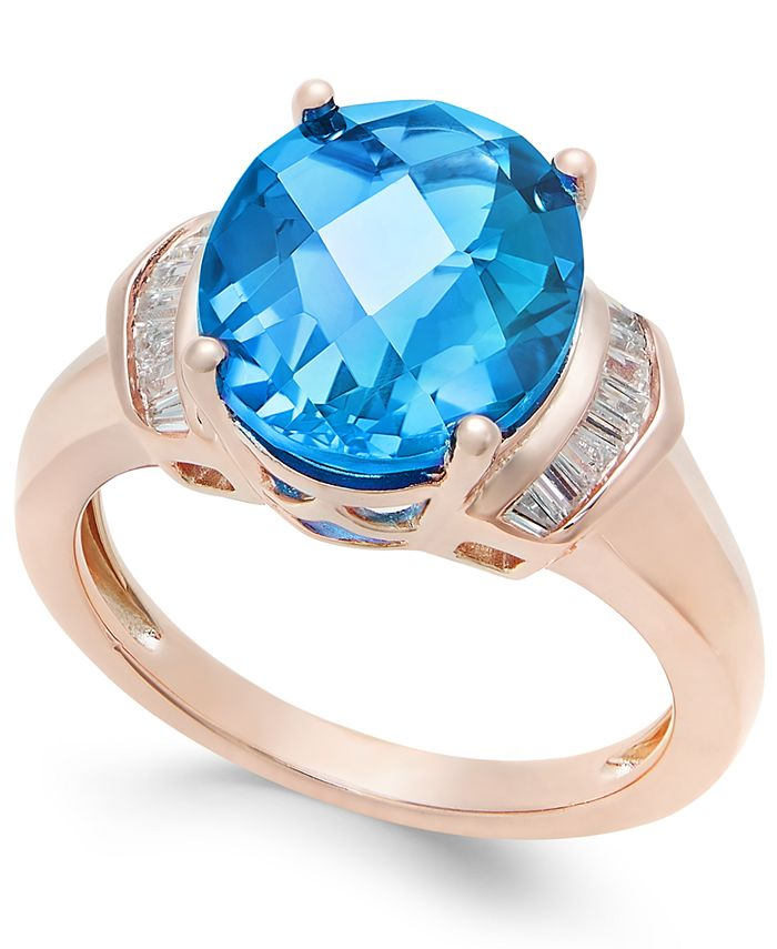 Macy's - London Blue Topaz (4-9/10 ct. t.w.) and White Topaz (1/4 ct. t.w.) Ring in 14k Rose Gold-Plated Sterling Silver