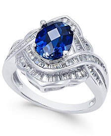 Sapphire (2 ct. t.w.) and Diamond (3/4 ct. t.w.) Ring in 14k White Gold