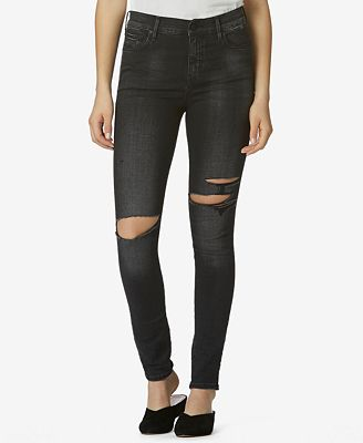 Avec Les Filles High-Waisted Ripped Skinny Jeans
