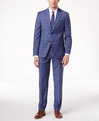 Tommy Hilfiger Men's Slim-Fit Medium Blue Plaid Stretch ...