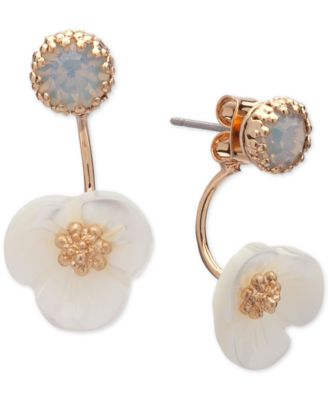 Gold-Tone White Flower Front and Back Earrings
