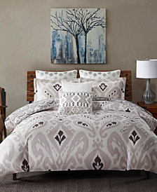 CLOSEOUT! INK+IVY Sasha Cotton Reversible Ikat Damask-Print King Duvet Mini Set