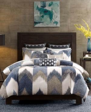 InkIvy Alpine Cotton Reversible King Chevron Stripe Print Duvet Mini Set Bedding