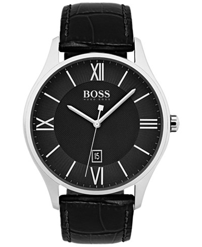 BOSS Hugo Boss Men's Governor Black Leather Strap Watch 44mm 1513485