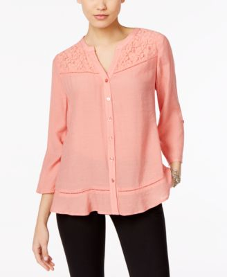 Image of NY Collection Lace-Trim Blouse