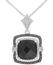 Onyx (10mm x 10mm) and Diamond (1/8 ct. t.w.) Pendant Necklace in Sterling Silver