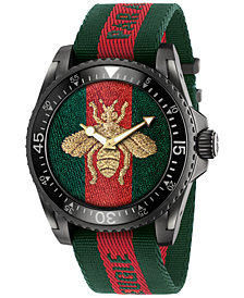 Gucci Unisex Swiss Le Marché Des Merveilles Unisex Green and Red Nylon Strap Watch 45mm YA136216