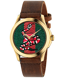Gucci Unisex Swiss Le Marché Des Merveilles Brown Toscano Leather Strap Watch 38mm YA1264012