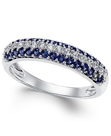 Sapphire (1/2 ct. t.w.) & Diamond (1/4 ct. t.w.) Ring in 14k White Gold