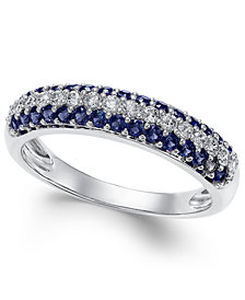 Sapphire (1/2 ct. t.w.) & Diamond (1/4 ct. t.w.) Ring in 14k White Gold (Also Emerald and Ruby)