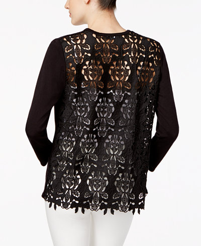 Alfani Petite Lace-Back Cardigan, Created for Macy's - Sweaters ...