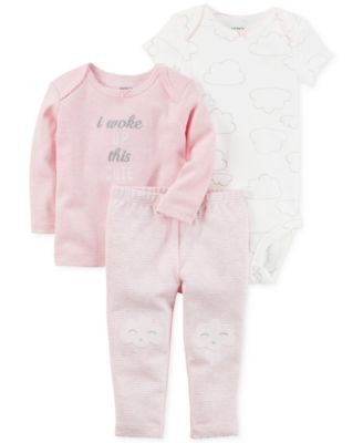 Image of Carter's 3-Pc. I Woke Up This Cute T-Shirt, Bodysuit & Pants Set, Baby Girls (0-24 months)