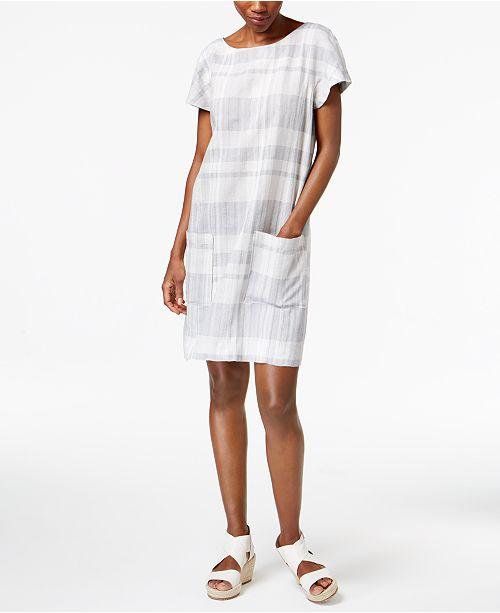 053e975a38f ... Eileen Fisher Organic Cotton-Linen Blend Boat-Neck Striped Shift Dress  ...