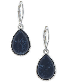 Nine West Silver-Tone Blue Stone Teardrop Drop Earrings