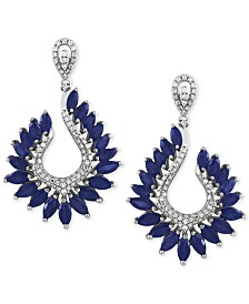 Royalé Bleu by EFFY® Sapphire (6-3/8 ct. t.w.) and Diamond (1/2 ct. t.w.) Drop Earrings in 14k White Gold