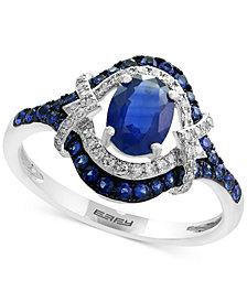 Royalé Blue by EFFY® Sapphire (1-1/5 ct. t.w.) and Diamond (1/8 ct. t.w.) Ring in 14k White Gold