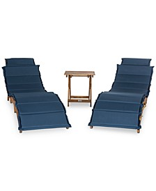 Irena Outdoor 3-Pc. Lounge Set (2 Lounges & 1 End Table)