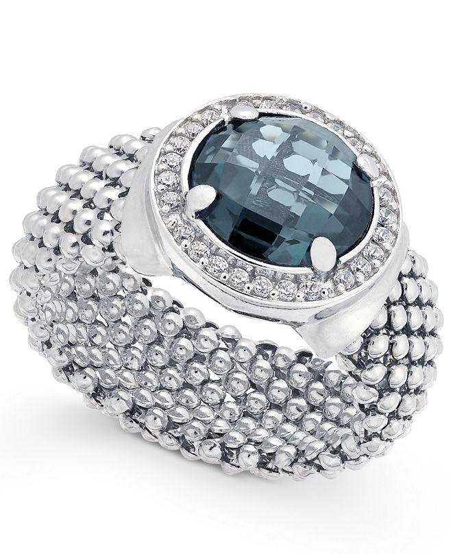Macy's London Blue Topaz (4-1/5 ct. t.w.) and Diamond (1/5 ct. t.w.) Popcorn Mesh Ring in Sterling Silver