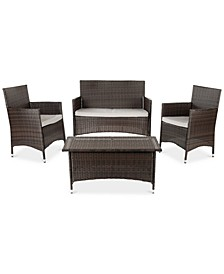 Chrystie Outdoor 4-Pc. Seating Set (1 Loveseat, 2 Chairs & 1 Coffee Table)