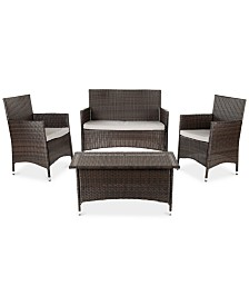 Chrystie Outdoor 4-Pc. Seating Set (1 Loveseat, 2 Chairs & 1 Coffee Table), Quick Ship
