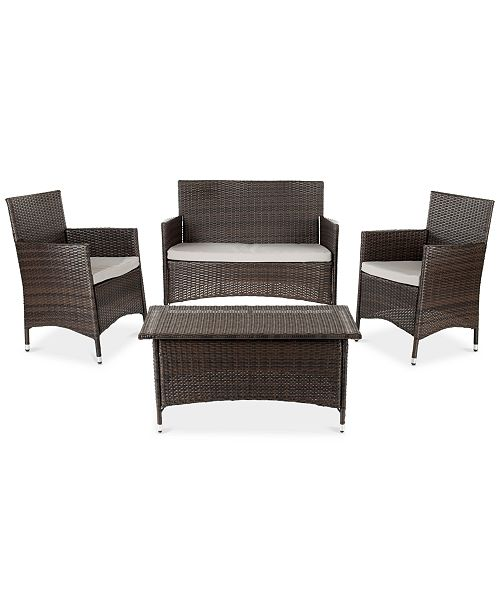 Safavieh Chrystie Outdoor 4-Pc. Seating Set (1 Loveseat, 2 Chairs & 1 Coffee Table)