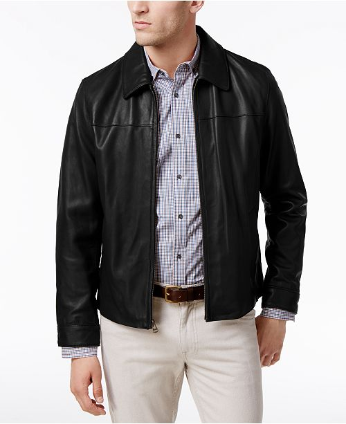 e20124eceaae Cole Haan Men's Full-Zip Leather Bomber Jacket & Reviews - Coats ...