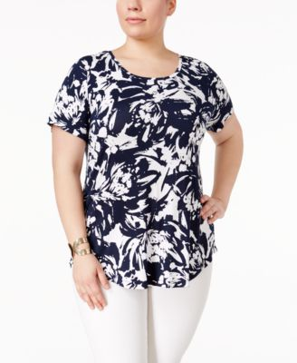 Image of JM Collection Plus Size Printed Short-Sleeve Top, Only at Macy's